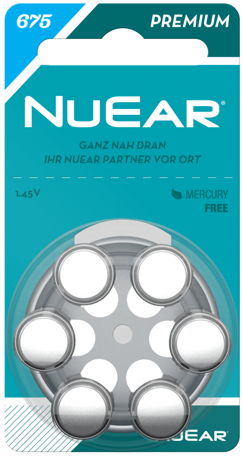 Hörgeräte Batterien NuEar 675er Batterien 6er Pack 675 | blau