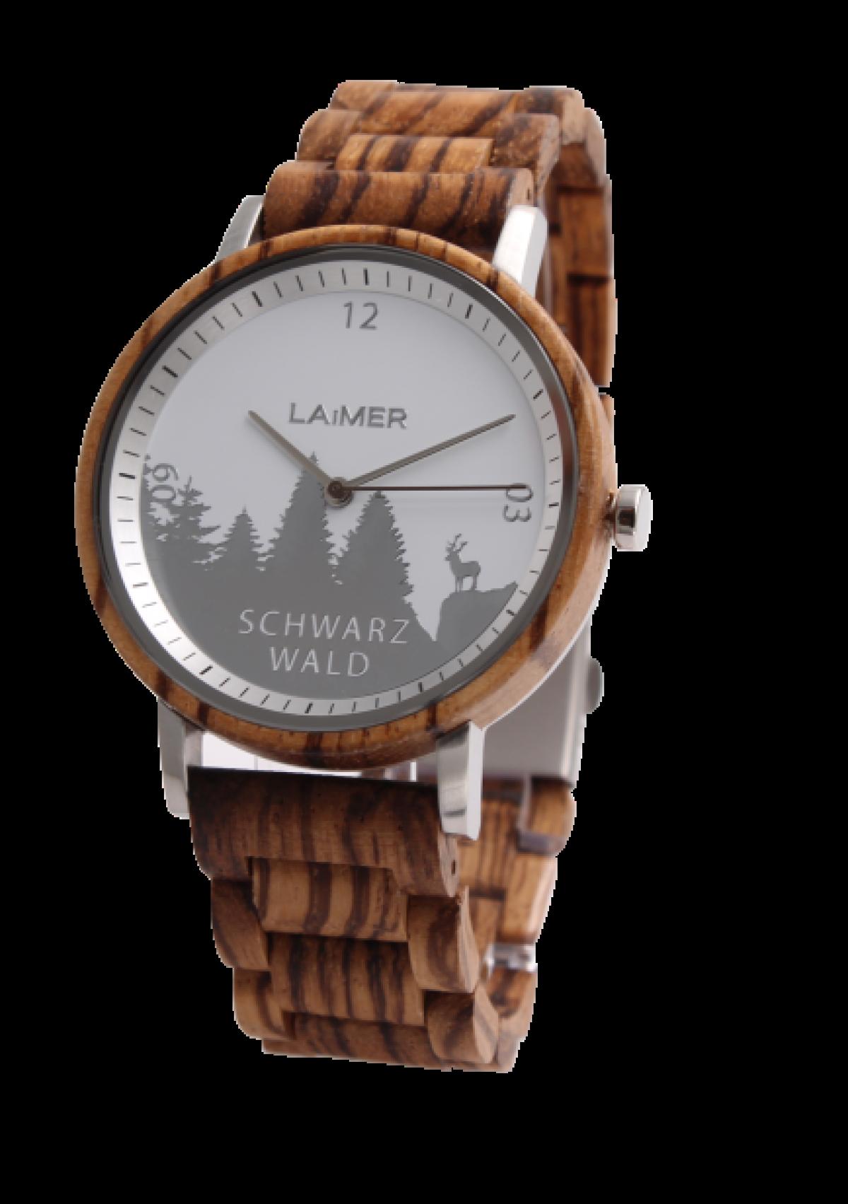 Schwarzwald  Laimer Woodwatch Herrenuhr | Zebrano Hell